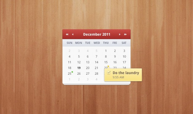 calendar clean shadow sleek smooth soft subtle ui over wood background