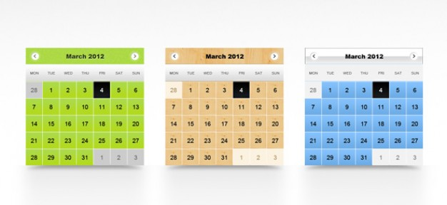 calendar templates with three color style