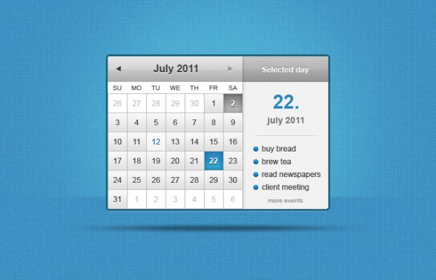 calendar widget with event display over blue background