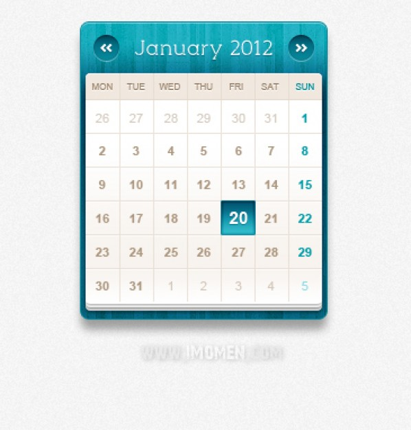 calendar with blue top and border material
