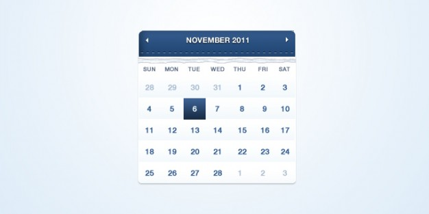 calendar with blue top and light blue background
