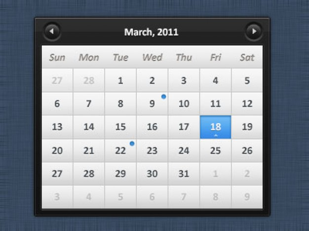 calendario for web or app Calendar Interface design