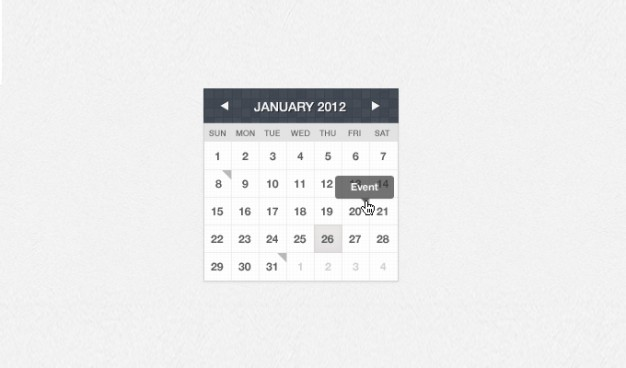differents colors calendar interface collection
