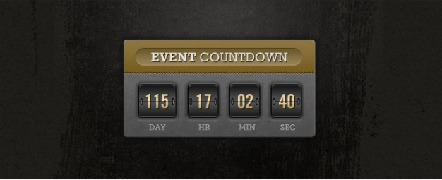 event countdown with earth yellow top in vintage style