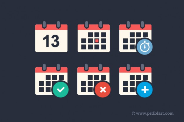 flat calendar icon set for countdown add delete