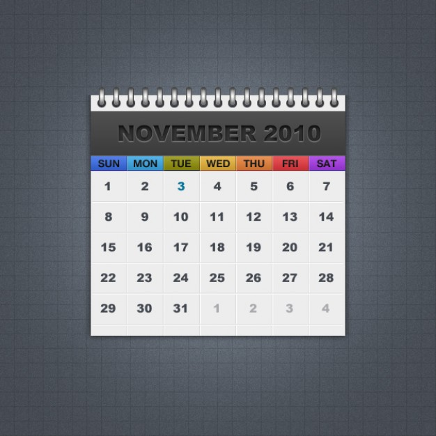 freebie calendar with colorful week background