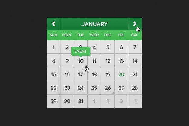 green calendar material with green top and green current date