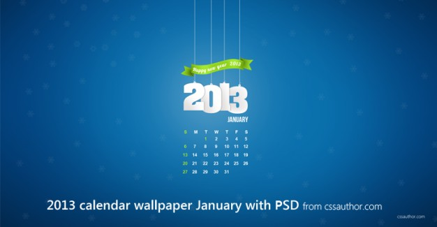 january desktop calendar wallpaper with green ribbon and blue background