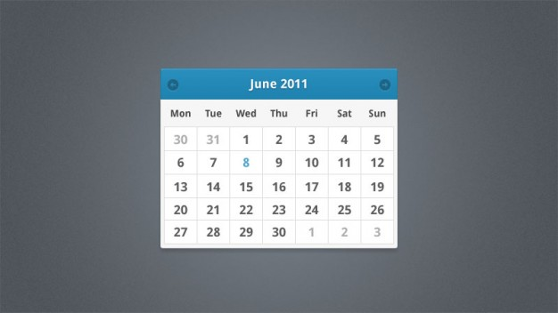 minimalist calendar widget with blue top