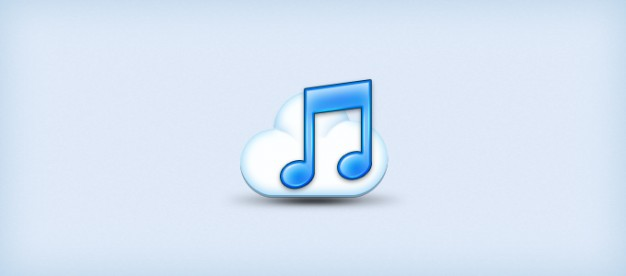 music cloud icon over light blue background