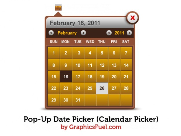 pop up date picker calendar picker in brown metal style