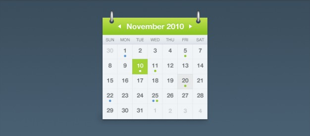 sexy calendar with green top over blue background
