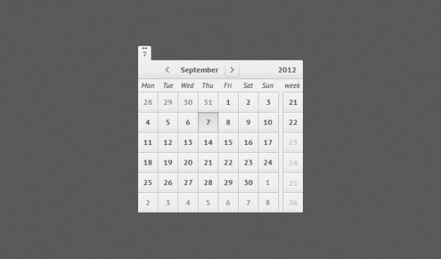 simple clean calendar in plane style