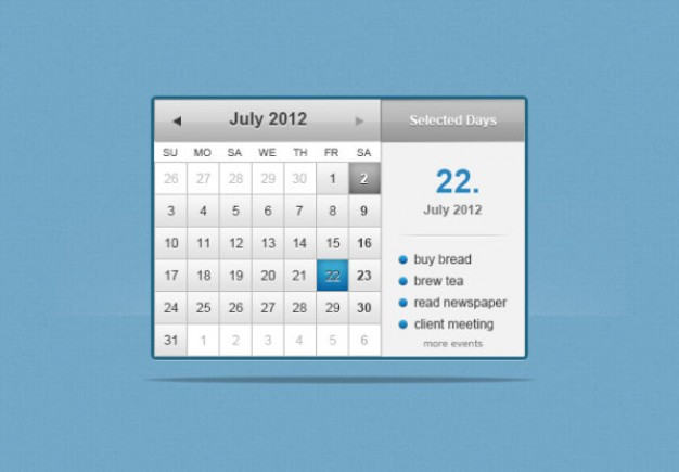 the web calender psd layered material over blue background