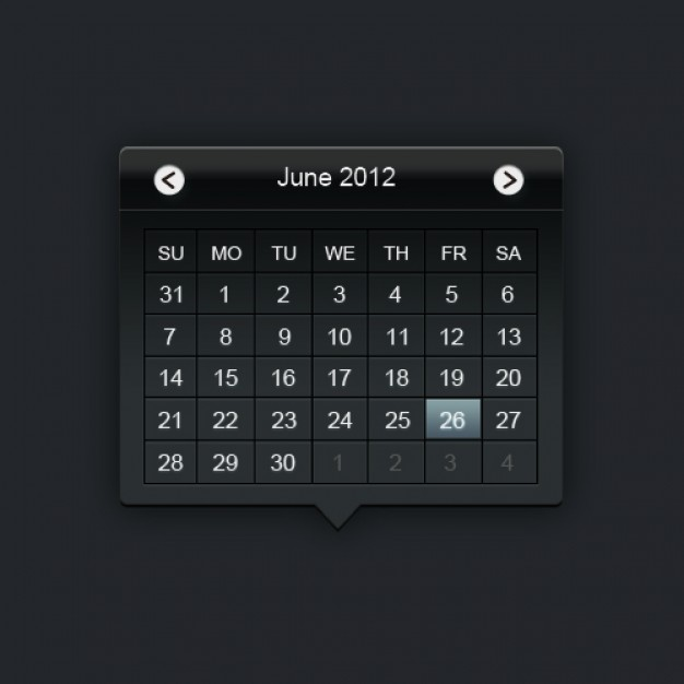 web calendar layered material in dark style