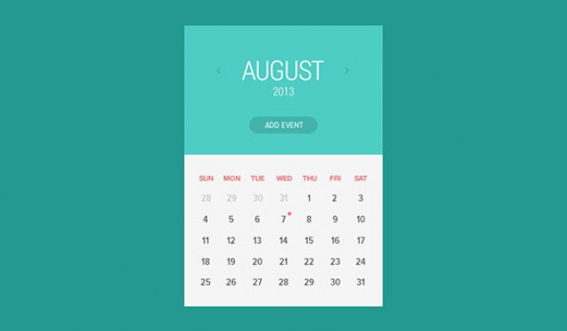widget calendar flat style with green background