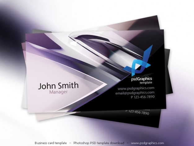 abstract purple tech design business card template