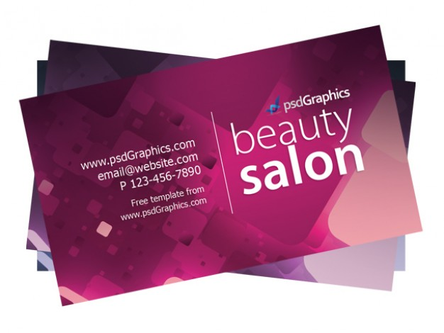 beauty salon business card template in pink background