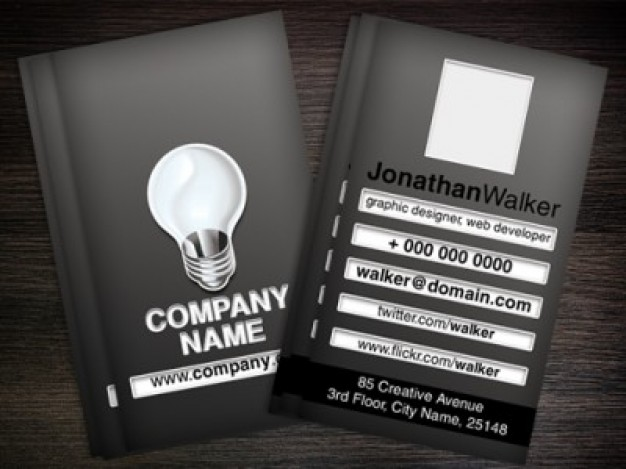 black business card template in dark style