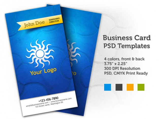 blue business card templates with spiral sun icon in front back