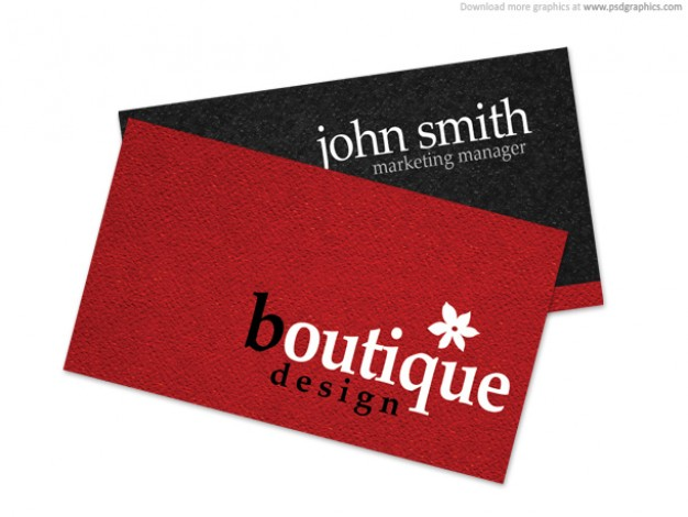 boutique business card with red and black background