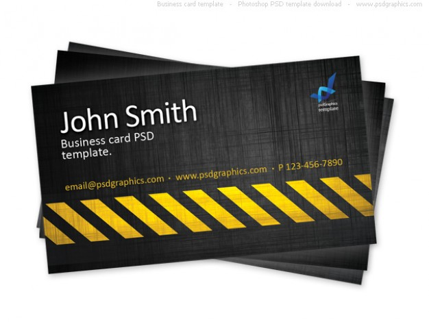 business card dark style template construction hazard stripes theme