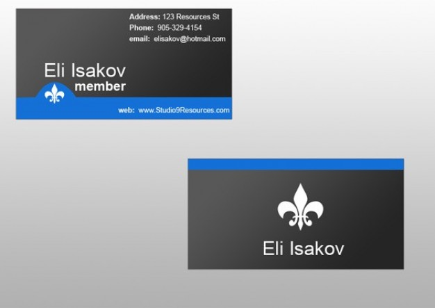 business card template set in sleek dark style