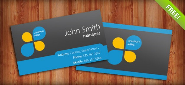business card template with blue bottom and gray background