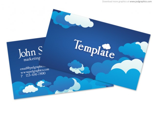 business card template with blue cloudy sky