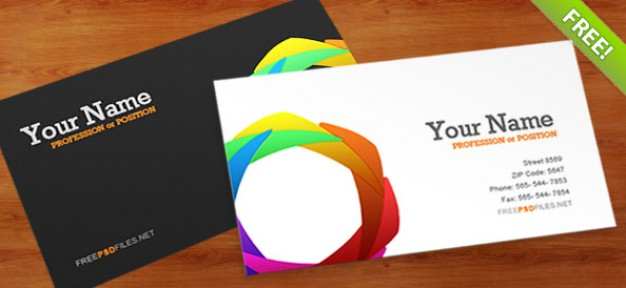 business card template with circle made of colorful grids