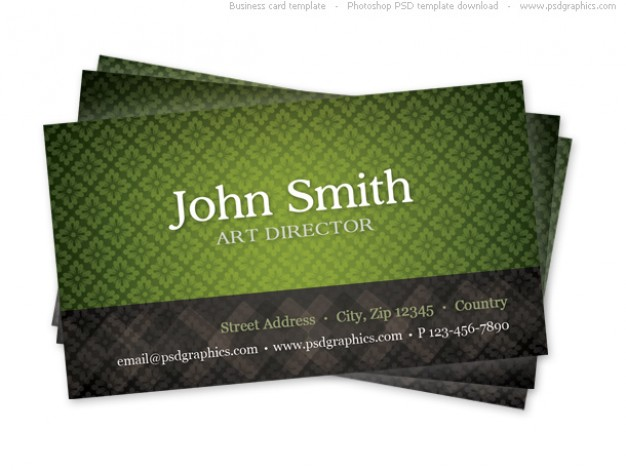 business card template with green seamless grids pattern