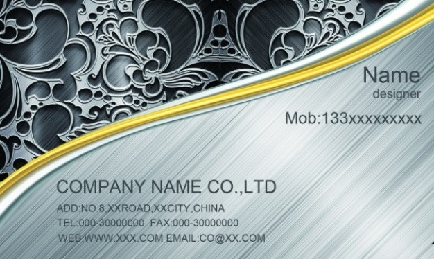 business card templates layered material with cool swirls and golden line