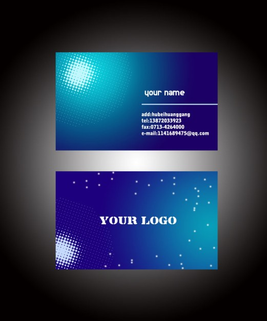 business card with blue grandient sun light and stars