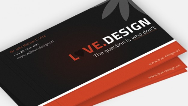 business card with love design sign