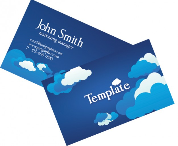 card template with clouds and blue sky