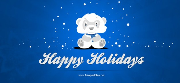 christmas background with cute snowflake bear over blue sky