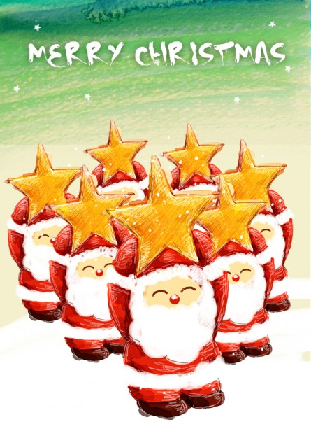 cite stars the lovely santa claus with orange stars on head