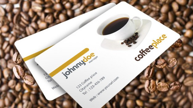 coffee place business card over coffees