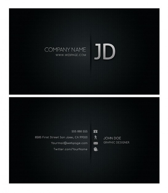 cool business card template layered material in dark silent style
