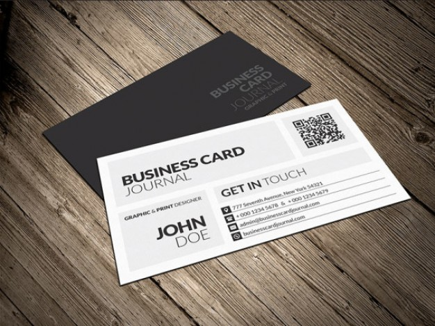 creative modern metro business card template over wood surface