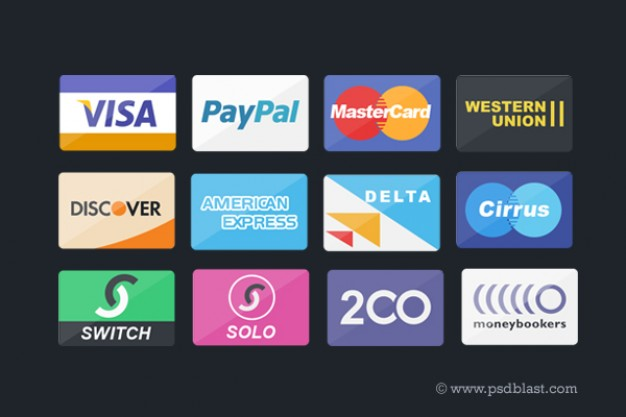credit card payment icons set like visa paypal
