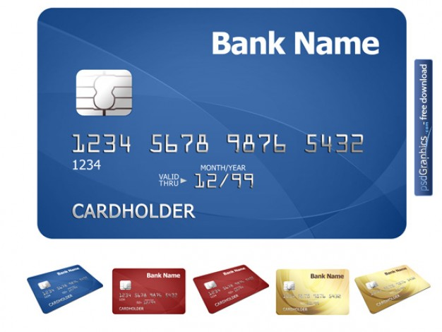 credit card template with blue background