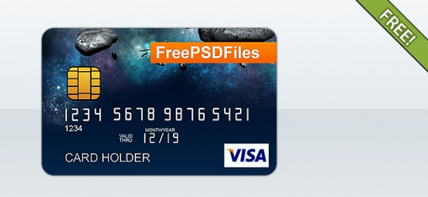 credit card template with space sky background