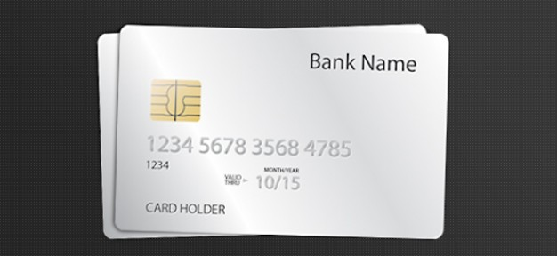 credit card template with white background
