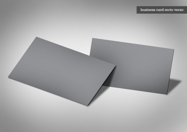 dark business cards template over gray background