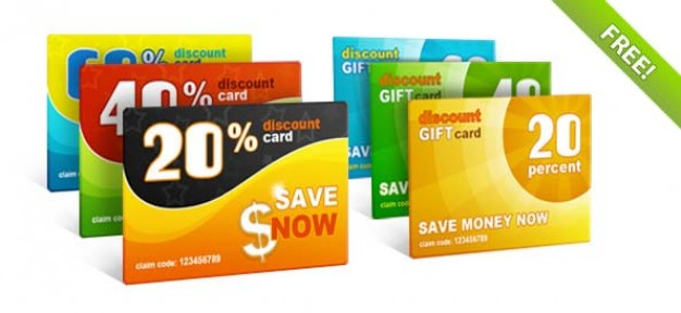 discount gift cards template in colour