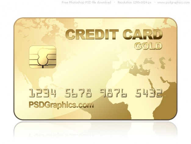 gold credit card template with world map