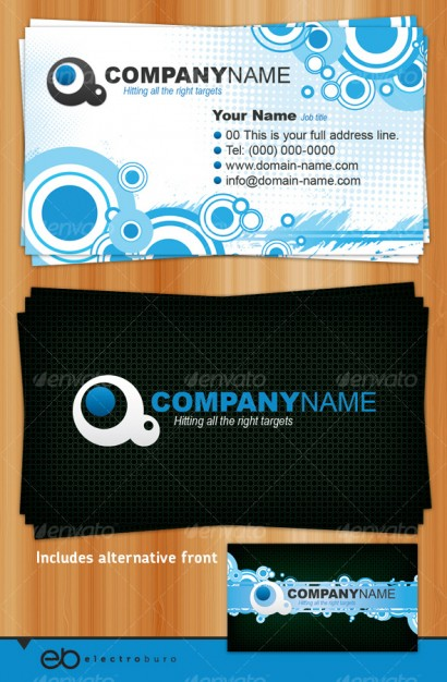 Gorgeous business card templates layered material with targets and waves