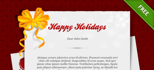 happy holiday card template with orange ribbon flower and red background