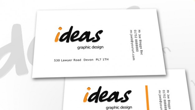 ideas business card with white background